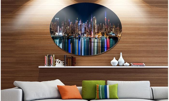 New York Midtown Night Panorama\' Extra Large Metal Circle Wall Art ...