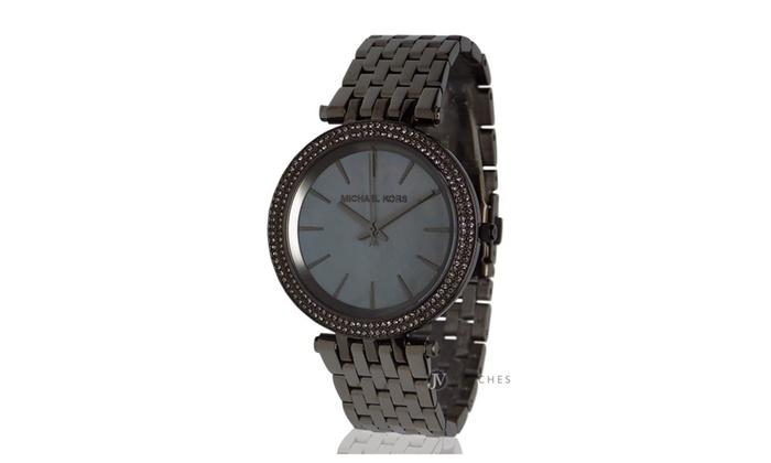 Michael kors womens gunmetal gray darci glitz watch mk3433 for Michaels craft store watches