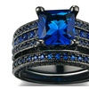 Luxury Black Gold Color Blue Cubic Zirconia Ring For Women