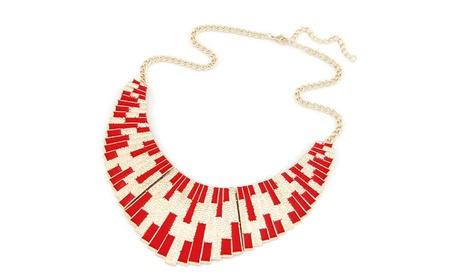 Punk Gold Color Fanshaped Enamel Statement Necklace for Women b4cbbfc6-6d32-486e-b7c2-abc74cb3fa0a