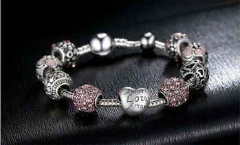 Mothers Day Special Crystal Heart Bracelet Made With Crystals From Swarovski