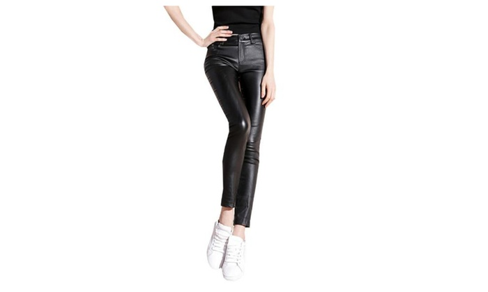 Women's Skinny Solid Zip Up with Button Ninth Jeans Pants
