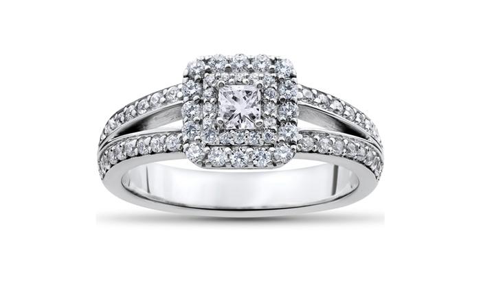 7cdcee5836b261 1 ct Princess Cut Diamond Double Halo Engagement Ring 14k White Gold ...