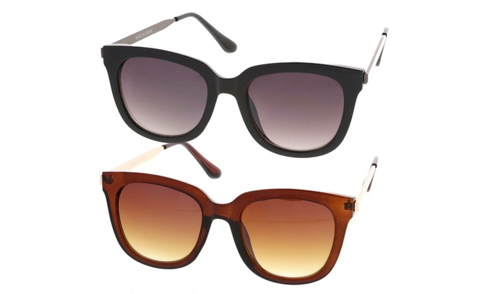 Retro Fashion Horn Rimmed Metal Temple Women Sunglasses Model S60W3203