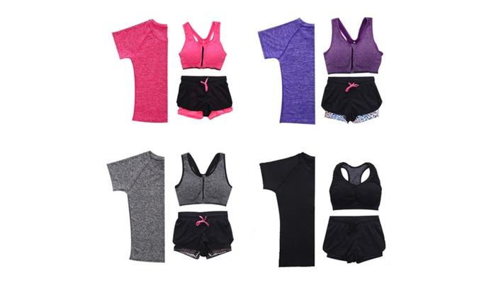 3pcs Women's Yoga Suit Running Fitness Gym Clothing Shirt+Bra+Short