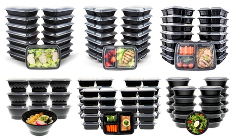 Meal Prep Bento Lunch Boxes with Lids (30-, 40-, 48-, 72-, 80-, 300-Piece Sets)