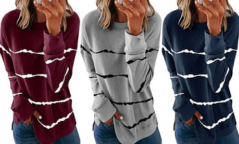 Women's Tie-Dyed Printed Striped Round Neck Loose Long Sleeves Sweatshirt