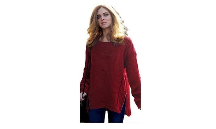 Queen-Ks Women's Plus-Size Batwing Sleeve Irregular Hem Loose Knit Sweater