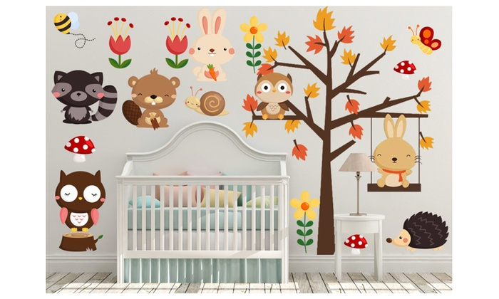 Woodland Tree Nursery Wall Decals Kids Safari Animal Stickers