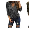 Women's Camouflage Print V Neck Lace Up Casual Tee Shirt Blouse Top
