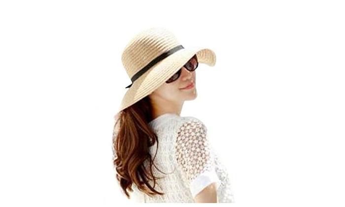 Simple Fashion Folding Women's Summer Beach Hat Straw Floppy Sun Hat