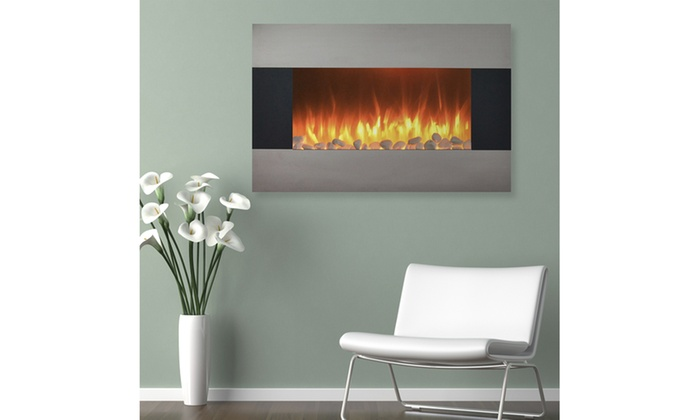 Stainless Steel Electric Fireplace W Wall Mount And Floor Stand Remote