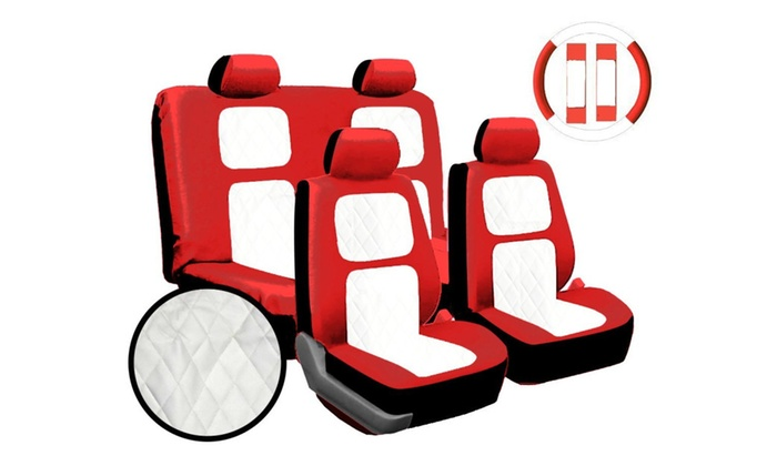 13pc Red White Diamond Stitching Universal Leather Car Seat Cover