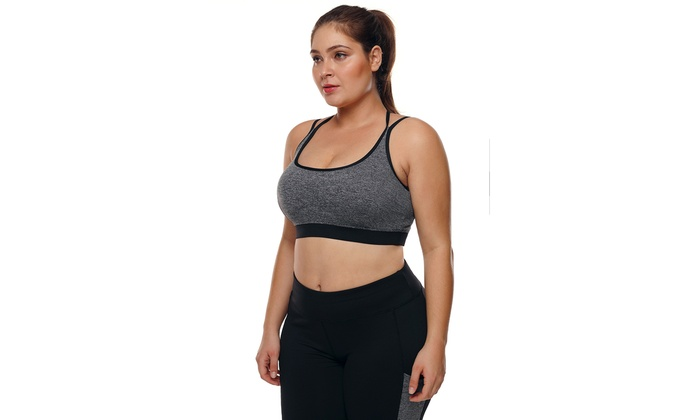 21dd21517f Women s Grey Plus Size Cross-strap U-shaped Neck Sport Bra
