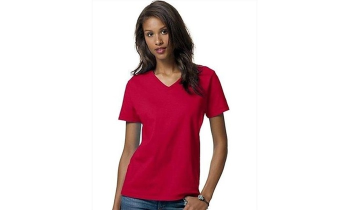 e525c9b4 Hanes 5780 Relaxed Fit Women Comfortsoft V-Neck T-Shirt 2XL Deep Red One  Size