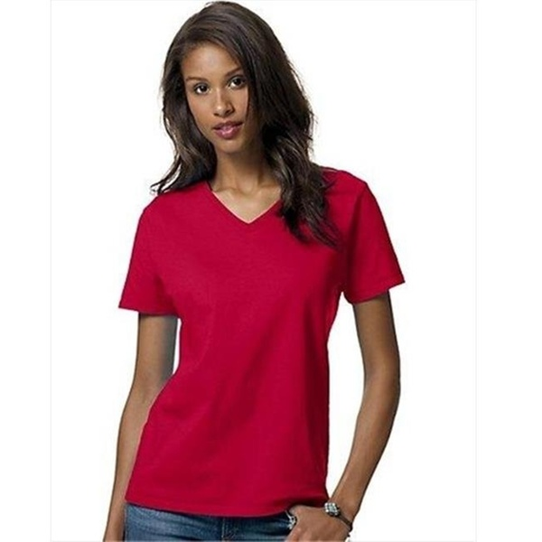 728b04687 Hanes 5780 Relaxed Fit Women Comfortsoft V-Neck T-Shirt 2XL Deep Red |  Groupon