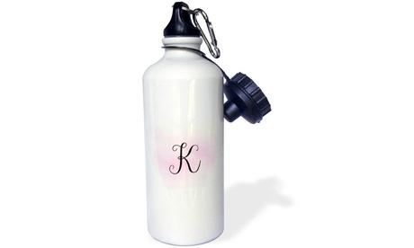 Water Bottle Image of Pink Watercolor K Monogram photo