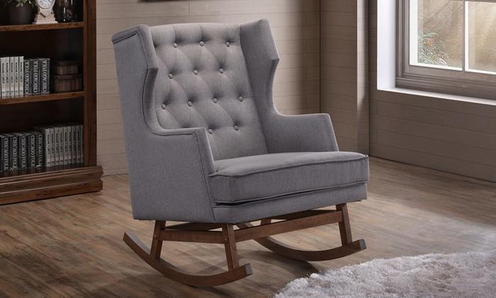 Iona Grey Fabric Wingback Rocking Chair ... & Iona Grey Fabric Wingback Rocking Chair   Groupon
