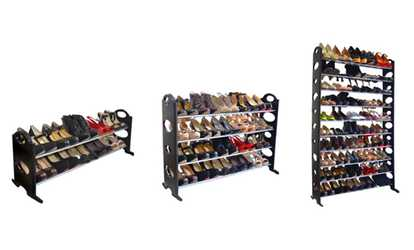 Shop Groupon Black Stackable 2 , 4 , Or 10 Tier Shoe Rack