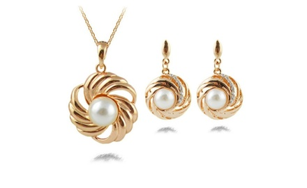KATGI 18K Gold Plated Pearls with Austrian Crystal Swirly Earrings and Necklace Set