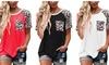 Women's Short Pockets Shirt Casual Leopard Print T-Shirt