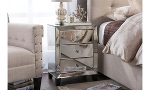 Chevron Glamour-Style Mirrored 3-Drawer Nightstand
