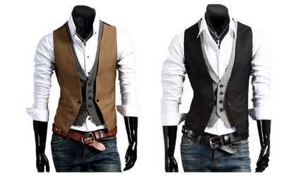 image placeholder image for Sunygal Men's Waistcoat Casual Blazer False Two  Vest Double