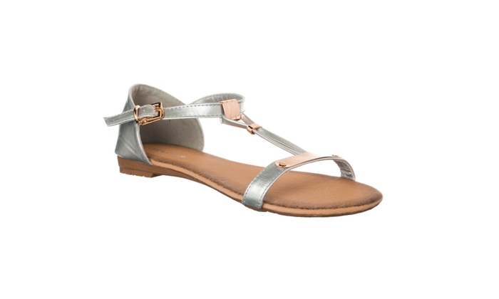 Riverberry Women's 'Fixup' Metallic Detailed Sandals, Silver
