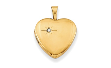 Sterling Silver 14k Gold-Plated & Diamond 16mm Heart Locket d1279add-7b47-456e-b029-4d44da85c13b