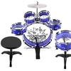 VT TM 11 Piece Kid's Drum Set Musical Set, 6 Drums, Cymbal, Stool (Blue)
