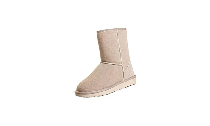 Winter Women Girls Ladys Mid Calf Warm Snow Boots - beige / one size