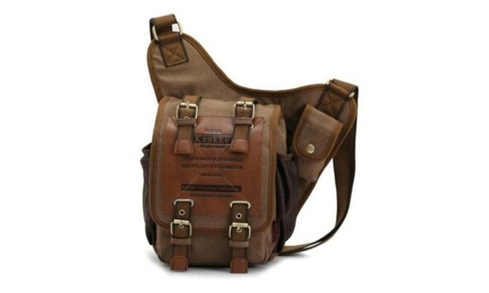 Men's Canvas Leather Shoulder Military Sling school Travel Hiking Bag