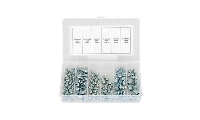 Capri Tools 110-Piece Hydraulic Grease Fitting Assortment Set - Metric
