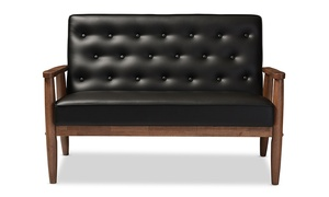 Sorrento Faux Leather Wooden 2-Seater Loveseat
