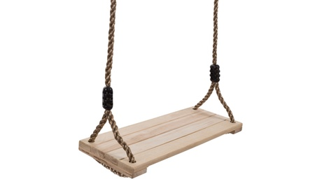Wooden Swing, Outdoor Flat Bench Seat w/ Adjustable Nylon Hanging Rope for Kids 9f290967-df2e-45cd-bfe0-ff4c8e95c5ac