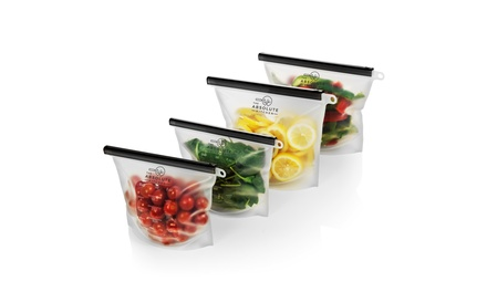 The Absolute Kitchen Reusable Silicone Food Storage Bags - BPA Free ( 2M/2L)
