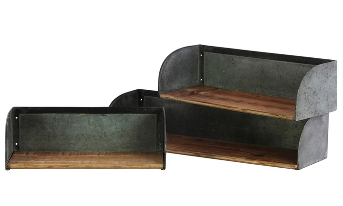 Urban Wood Rectangle Wall Shelf Metal Sides Set Of 3 Natural Finish Brown