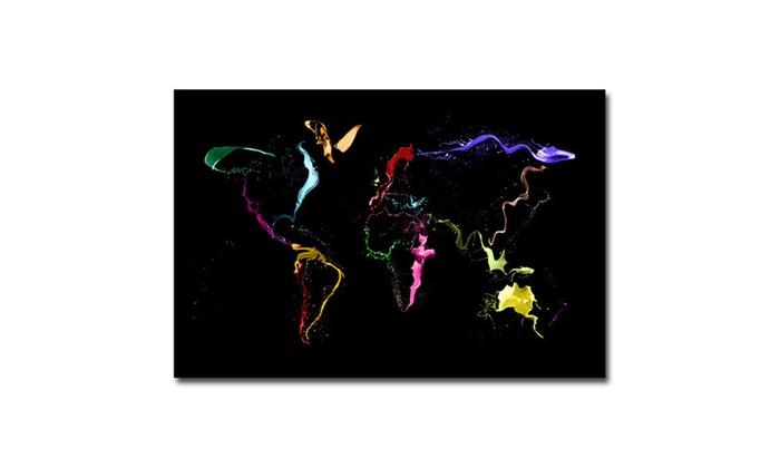 Michael tompsett world map thrown paint canvas art groupon michael tompsett world map thrown paint canvas art gumiabroncs Images