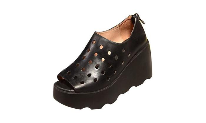 Women's Hollow Out Peep Toe Slip On Wedge Sandal