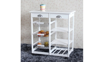 Kitchen & Dining Room Cart 3-Shelf Storage Rack with Rolling Wheels White