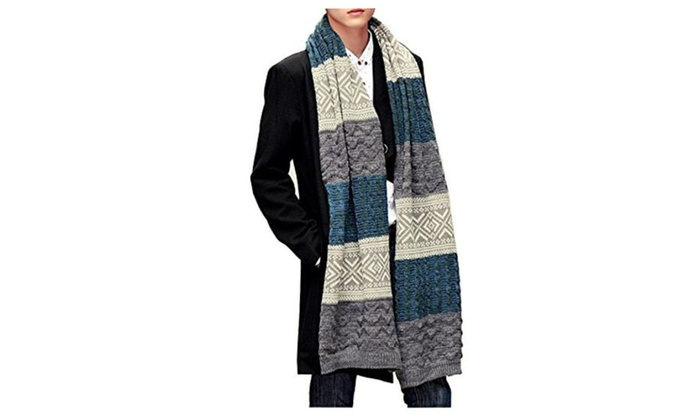 USOLDFLY Men's Autumn And Winter Thick Warm Knitted Wool Scarves