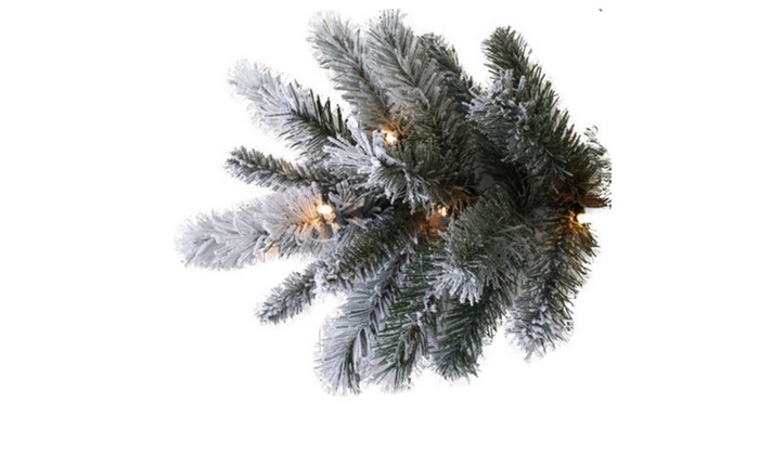 pre lit 9 slim winter frost pine artificial christmas tree