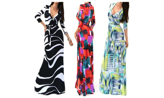 Women's Long Sleeve Floral Print  Bohemian Maxi Dress (S, M, L, XL)
