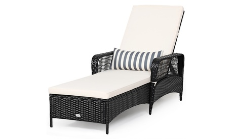 Costway PE Rattan Chaise Lounge Chair Armrest Recliner Adjustable Pillow Black