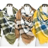 Fall and Winter Blanket Square Scarf in Multi-color Plaid Pattern