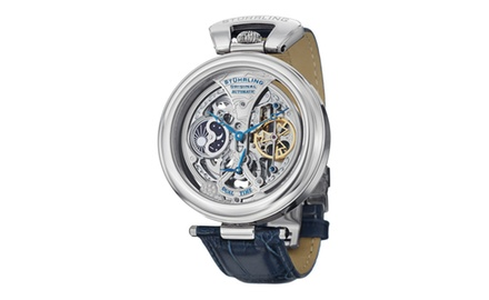 Stuhrling Original Men's 127A.3315C2 Special Reserve Emperor's Grandeur Automatic Skeleton Dual Time Blue Leather Watch