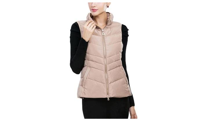Women's Winter Slim Fitted Zipper Short Down Vest