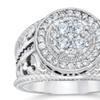 1 Carat Halo Diamond Pave Engagement Ring 10K White Gold