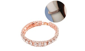 Zodaca Woman's Fashion Crystal Diamond Tennis Bracelet - Rose Gold