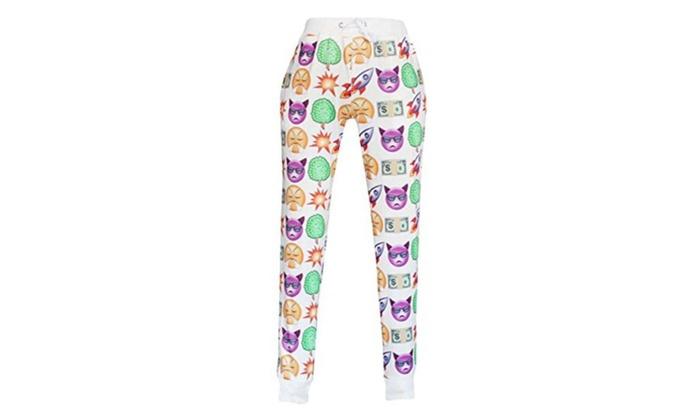 Zuis Women's Fashion Printed Athletic Sports Drawstring Long Pants - White / Large